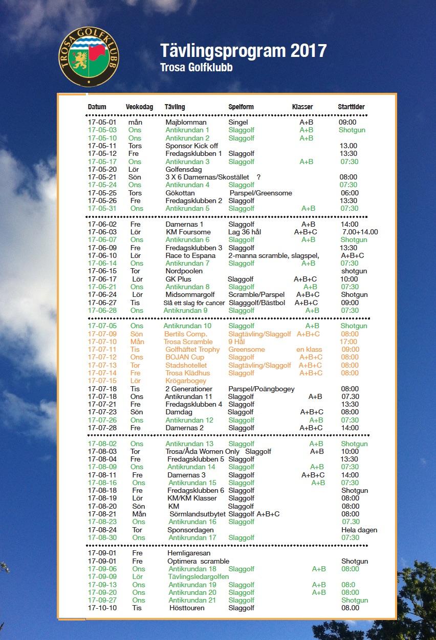 tävlingsprogram 2017/2