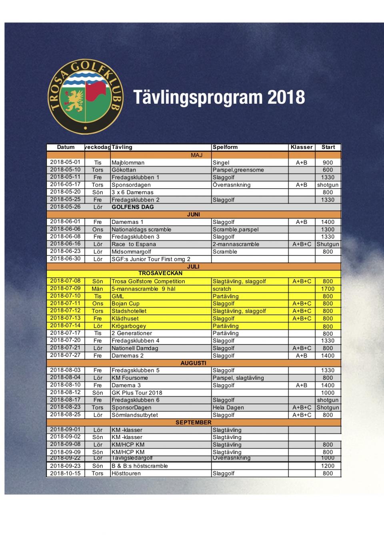 Tävlingsprogram 18.6