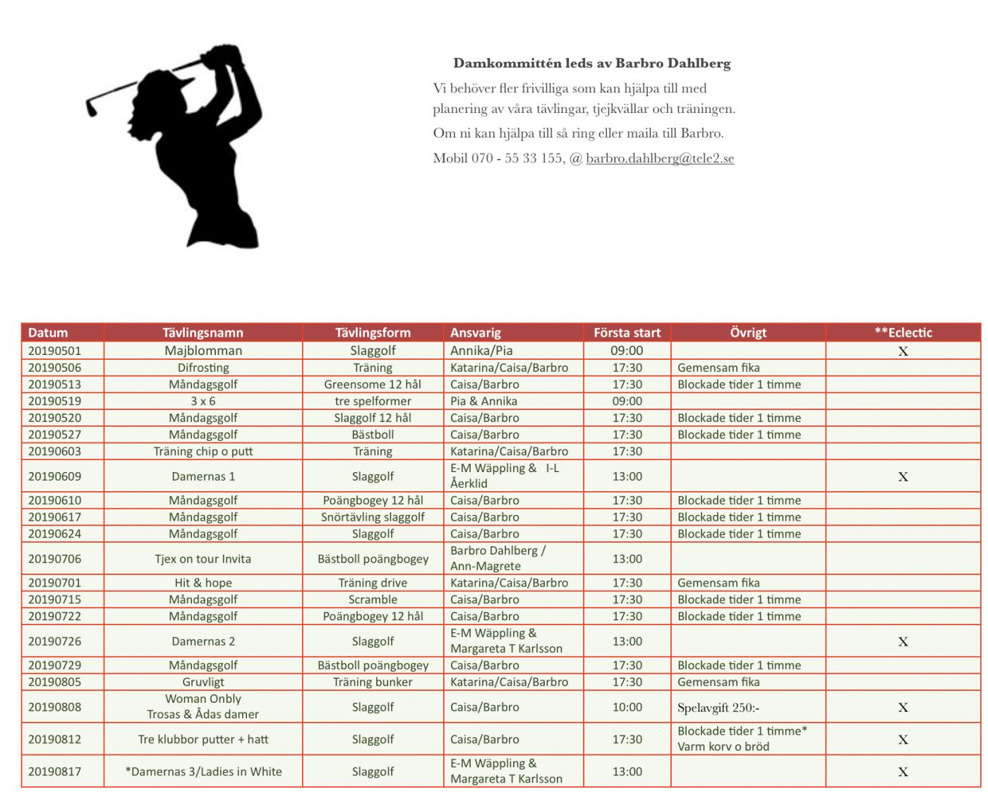 Damerna uppdaterat tävlingsprogram 2019